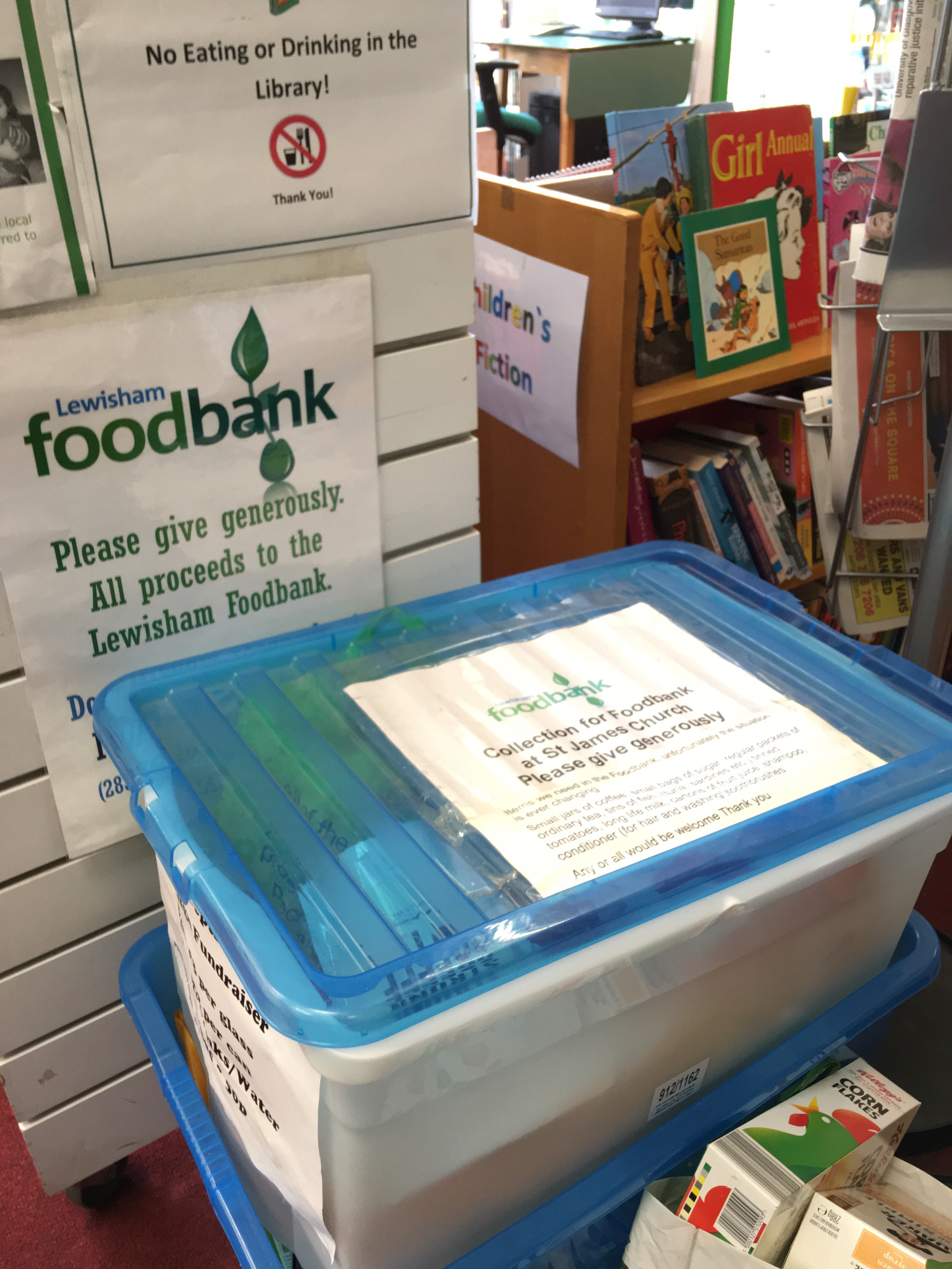 Food bank in a library