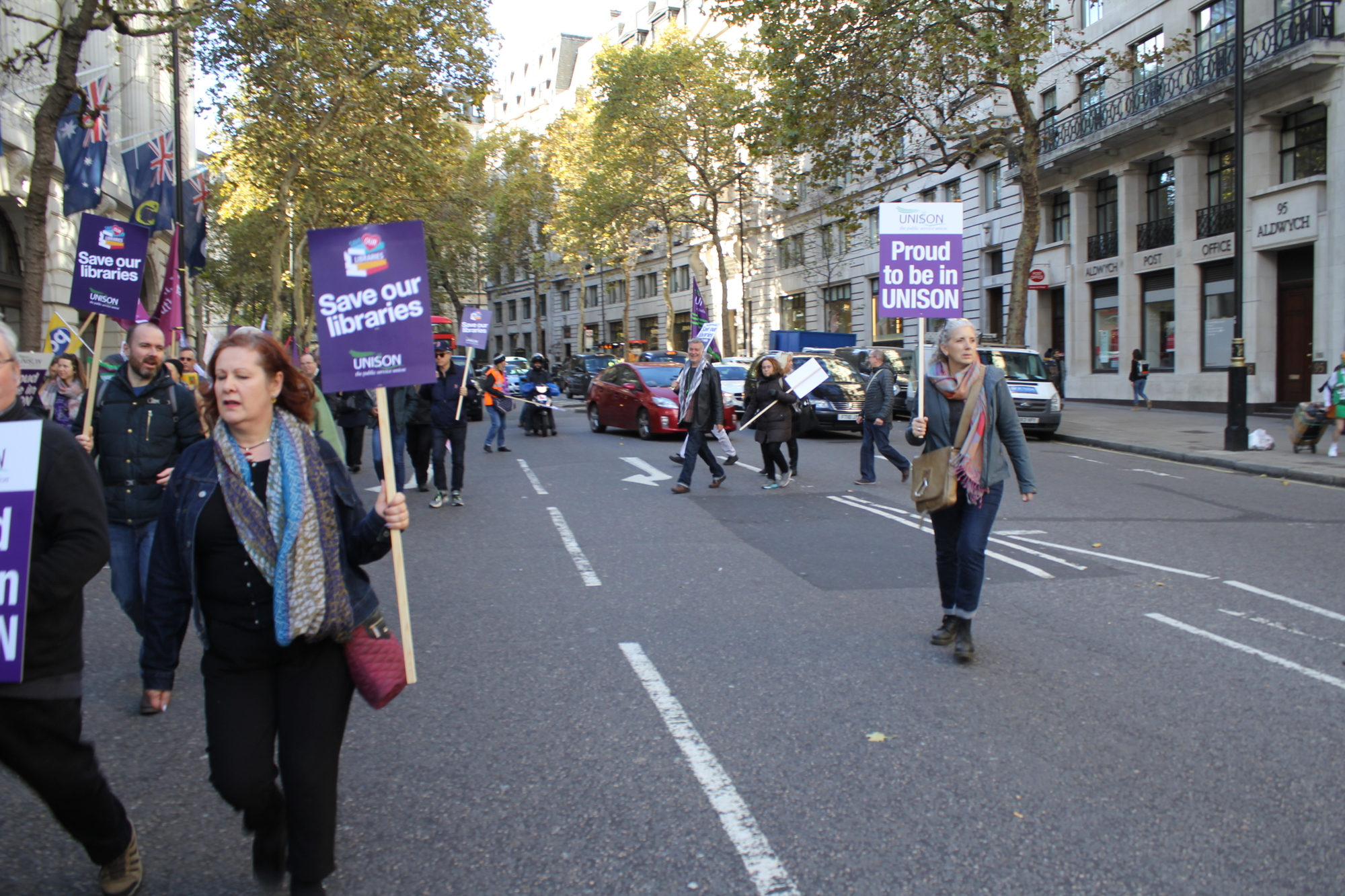 protesters in the road