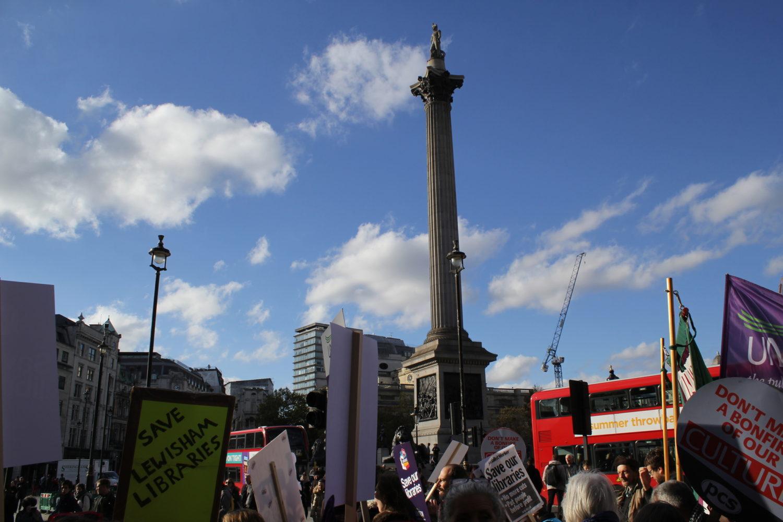 Protest Trafalgar Square libraries